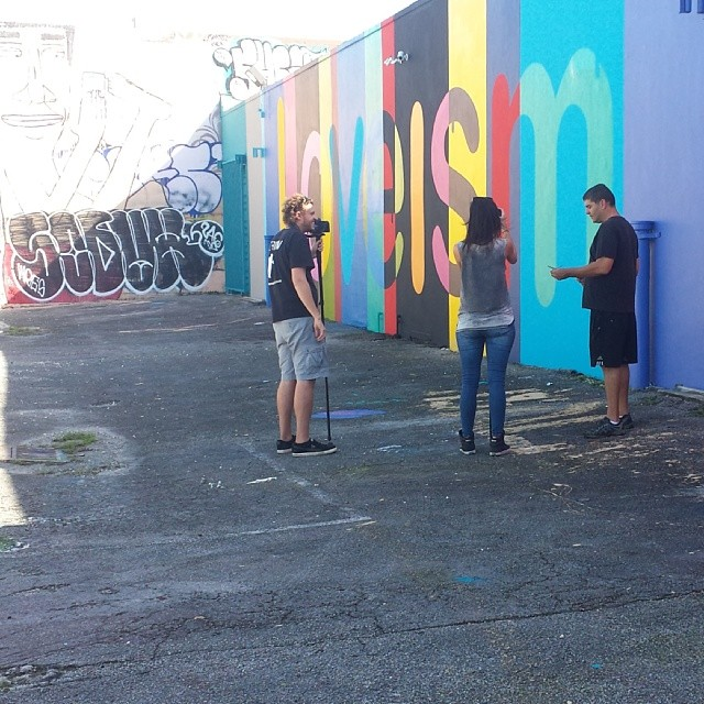 Being interviewed for a Miami graff documentary #wynwood #miami #graff #graffiti #documentary #hecone #hec1 #loveism