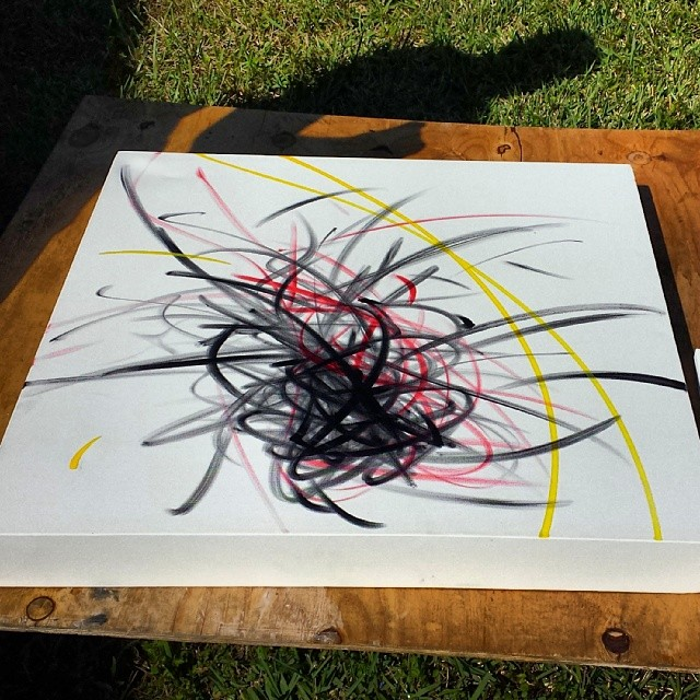 The start of a new abstract piece. Here I try and portray the motions of art on the canvas. #hecone #hec1 #loveism #abstract #motion #movement #wynwood #miami #canvas #pilot #marker #sharpie
